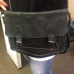 Handbags - NWOT black cut n paste leather messenger crossbody